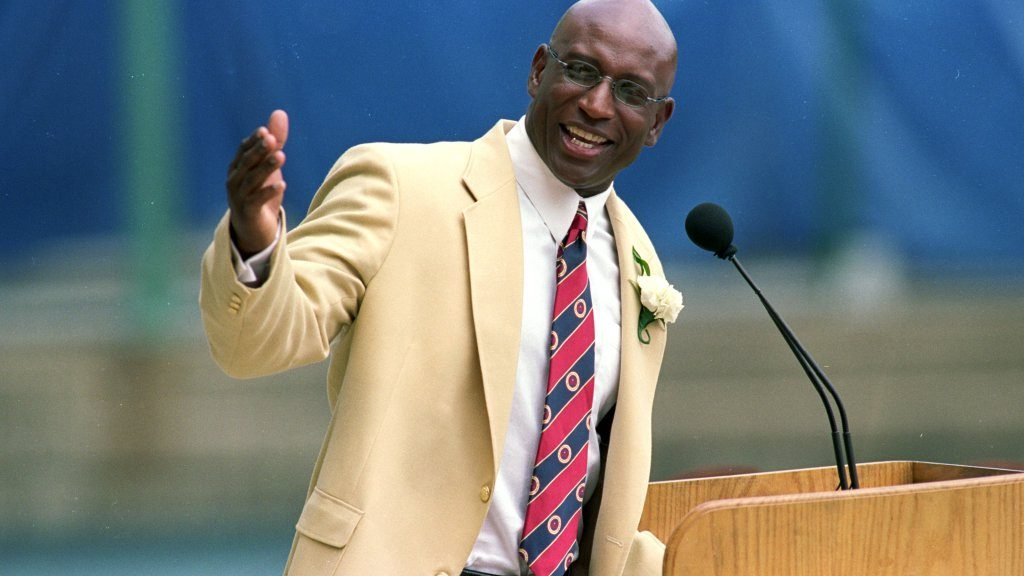 7 Aug 1999: Eric Dickerson talks to the press during his induction into the Pro Football Hall of Fame in Canton, Ohio.